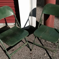 Folding Chair Green Island Chairs For Kitchen Vintage Rustic Metal Pair Haute Juice