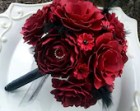 Paper Flower Bouquet - Wedding Bouquet - Red and Black  - Custom Made