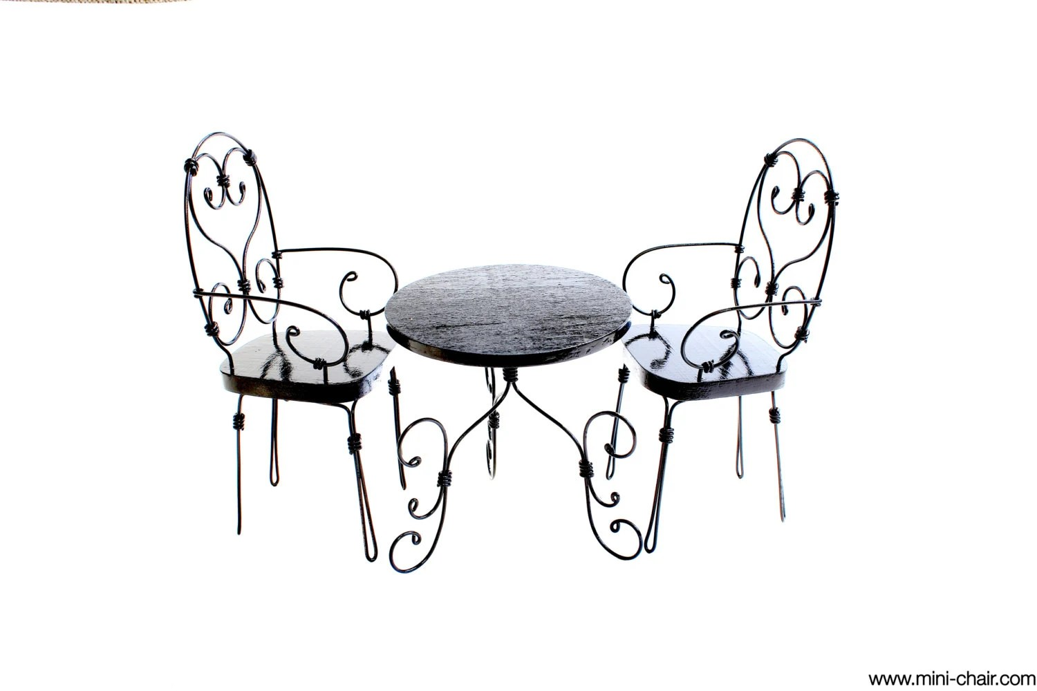 1/6 scale Round Table and 2 Chairs Wrought iron French bistro