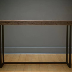 Long Sofa Bar Table With Sleeper Hall Welded Steel And Salvaged Lumber Reclaimed
