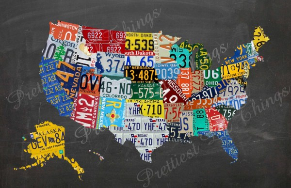 License Plate United States Map.Map Of United States License Plate For Wall Imgurl