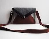 Geometric Brown Gray Black Wool Felt Genuine Leather Messenger Crossbody Bag - FancyfeltShop
