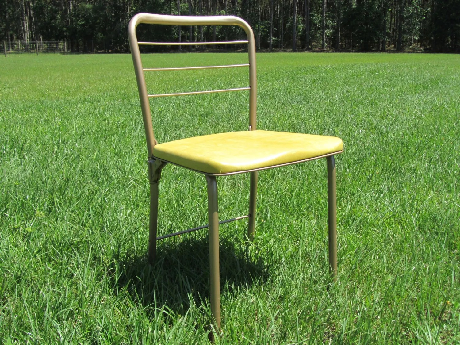 Yellow Metal Chairs Mid Century Gatefold Chair Retro Gatefold Chair Retro