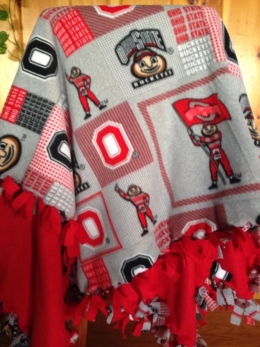 Hand Tied Fleece Ohio State Buckeyes BlanketThrow by