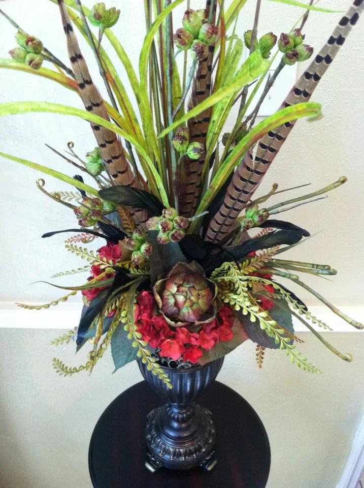 Elegant Tall Faux Floral Arrangement Artichoke  Red