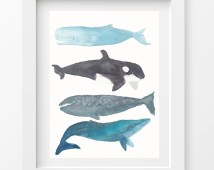 Whales Art Watercolor Painting Print
