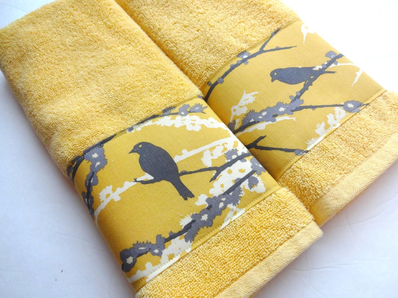 Bath Towel yellow and grey yellow birds yellow towels grey