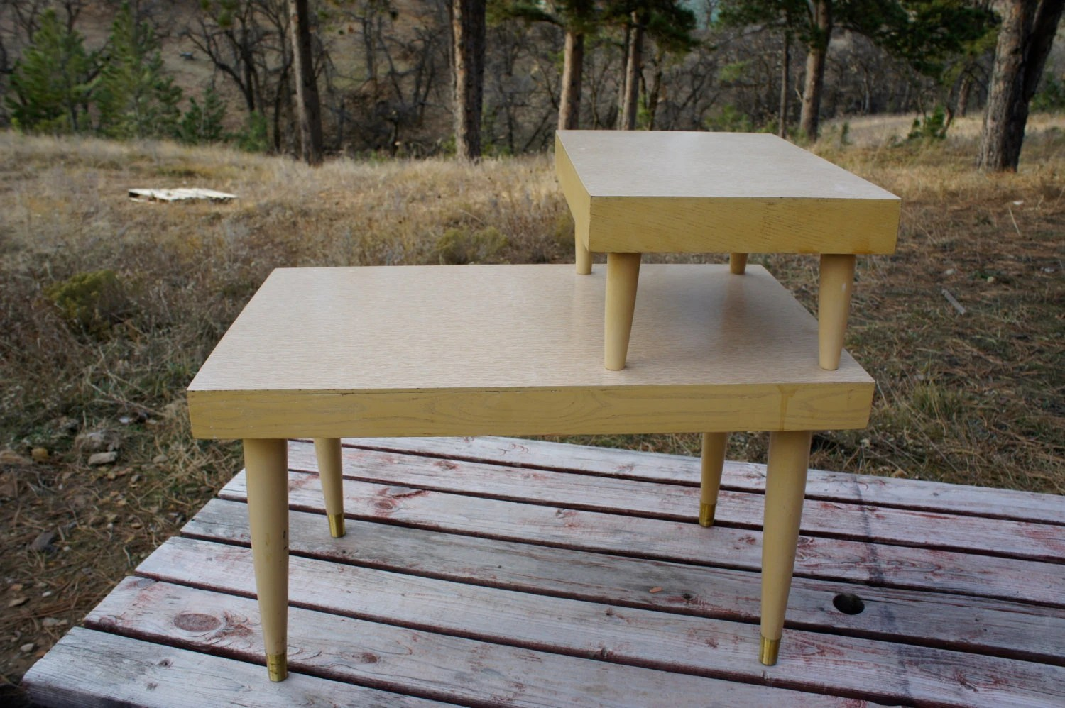 VIntage Blonde 2 Tier Step End Table Mid Century Couch Side