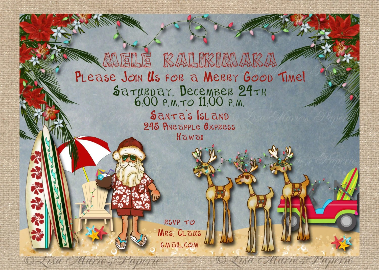 hawaiian christmas party invitation santa claus party