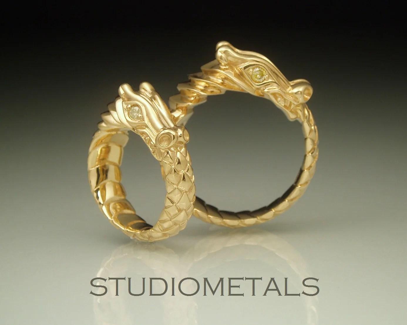 Gold Dragon Rings Ouroboros Dragon Rings Dragon Wedding