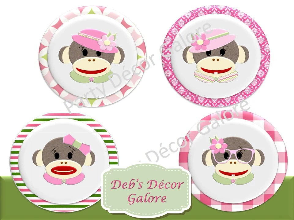 Girl Sock Monkey Birthday Cupcake Toppers Or Favor Tags