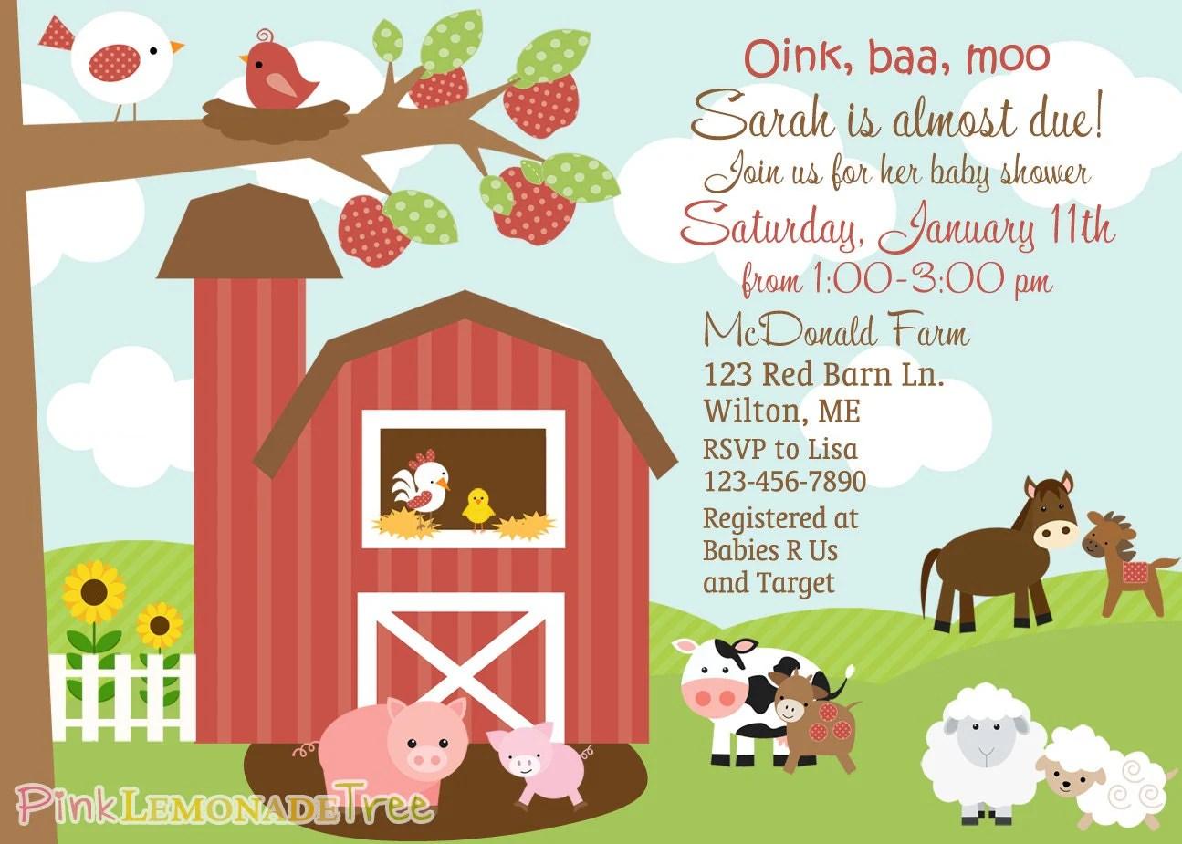 Farm Themed Baby Shower Invitation Farm Animals Barn On The