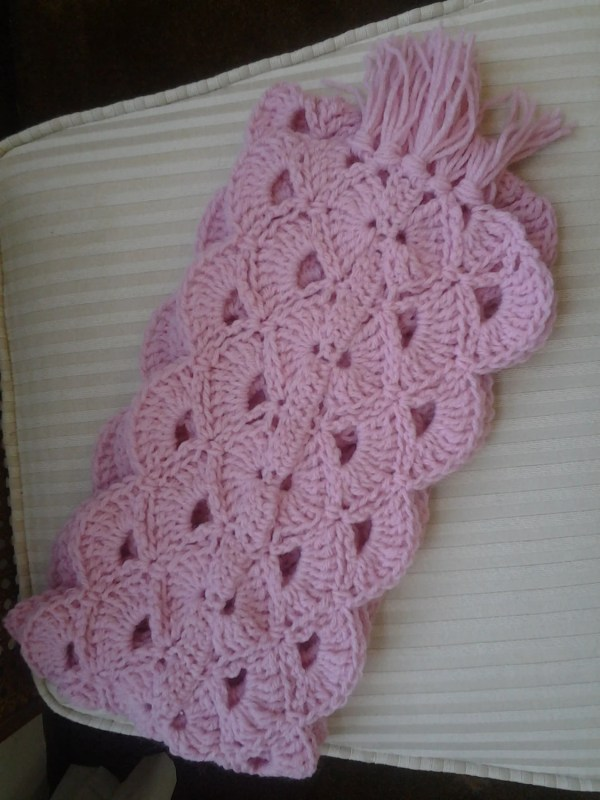 Crochet Scarf Pink Ribbon Breast Cancer