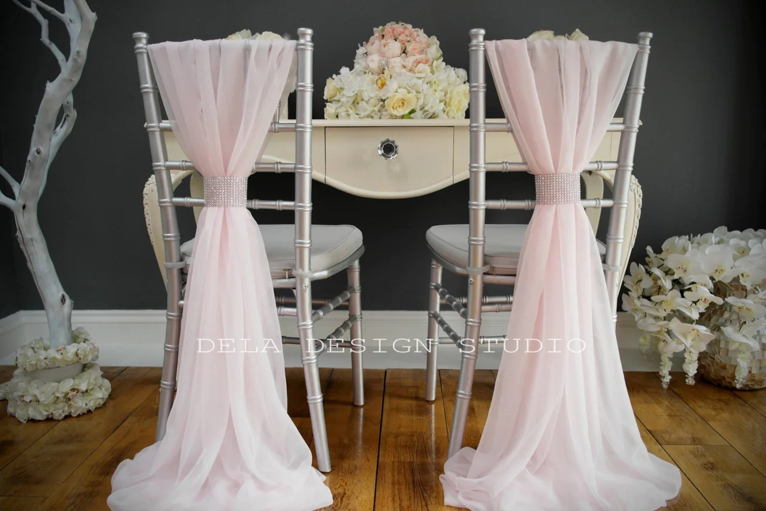 wedding chair sash chairs covers for sale chiffon cover pale pink