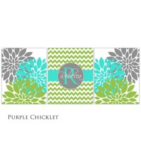 Lime Turquoise Gray Wall Art Personalized Baby Name Initial