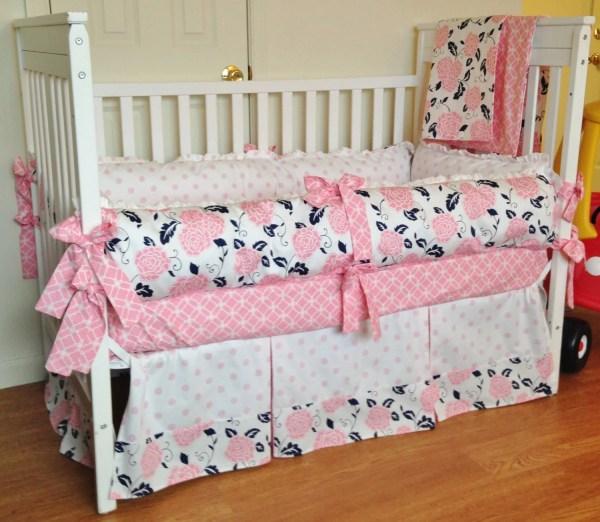 Items Similar Crib Bedding - Baby Girl Set Navy Pink White Design