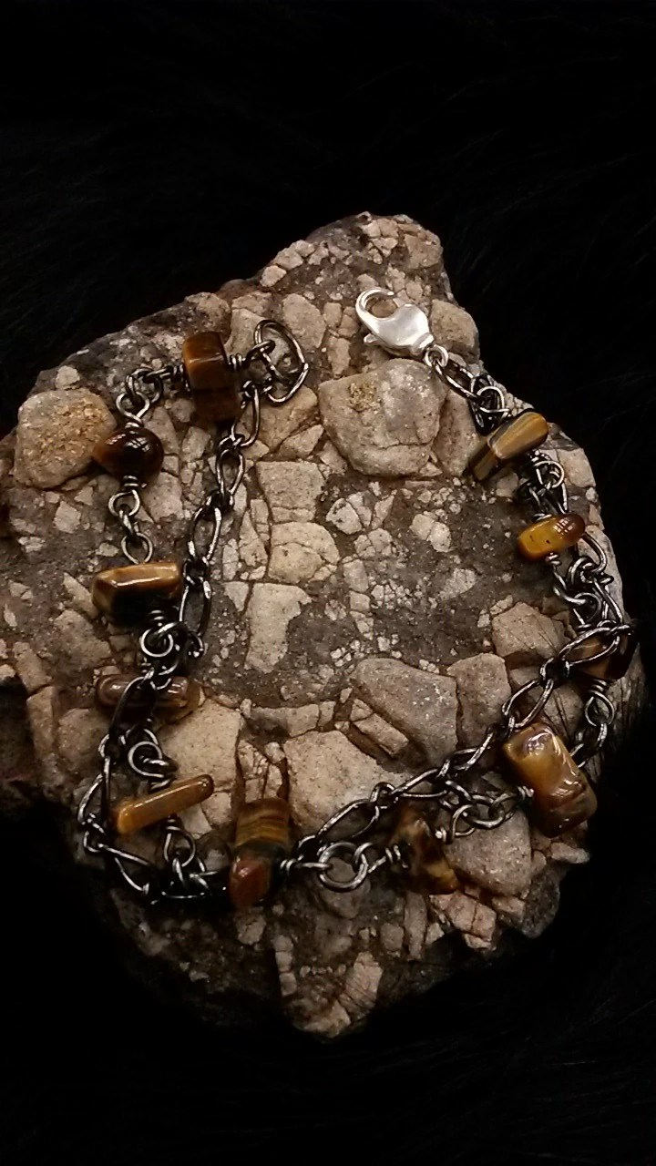 Tigers Eye Agate Silver Wire Ring By Minustidejewelry On Etsy