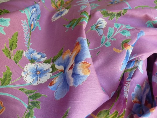 Lilac With Colored Flowers Cotton Fabric Yard