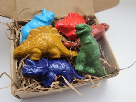 Dinosaur CRAYONS ECO FRIENDLY Handmade Natural Soy Crayons Dinosaurs (Set of 6), Gift for Kids, Party Favor, Dinosaurs, Kids Gift