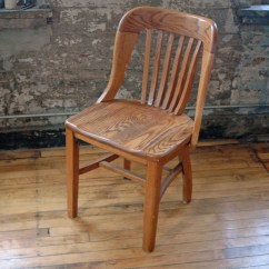 Wooden Library Chair Yellow Living Room Vintage Oak Bankers Courthouse