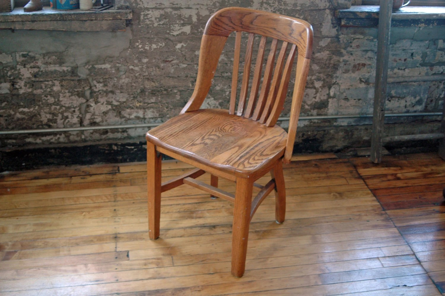 Antique Wooden Chair Vintage Wooden Oak Library Chair Bankers Chair Courthouse