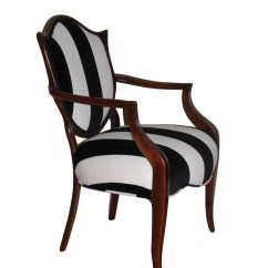 Black White Striped Chair Wheelchair Rental Shield Back And Upholstered Arm