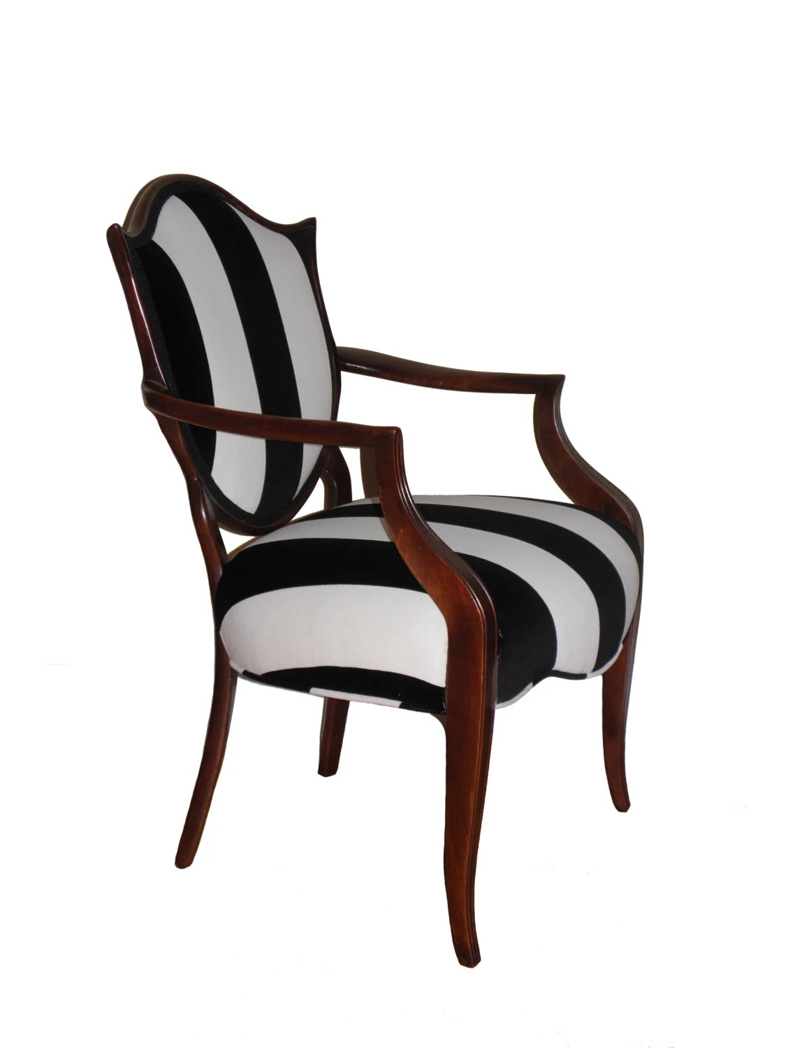 Blue And White Striped Chair Shield Back Black And White Striped Upholstered Arm Chair