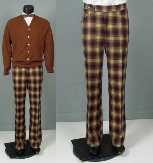 Vintage Mens 1970s Trousers Jaymar Plaid Wool Flare Leg