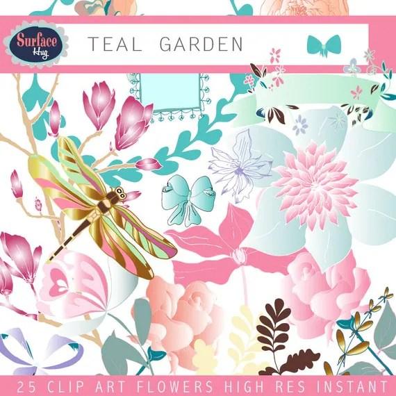 flower clipart teal garden digital