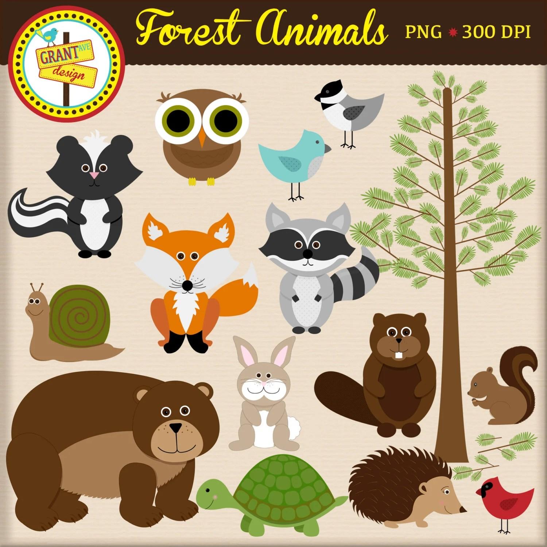 Forest Animals Clipart Woodland Animals Clip Art Cute