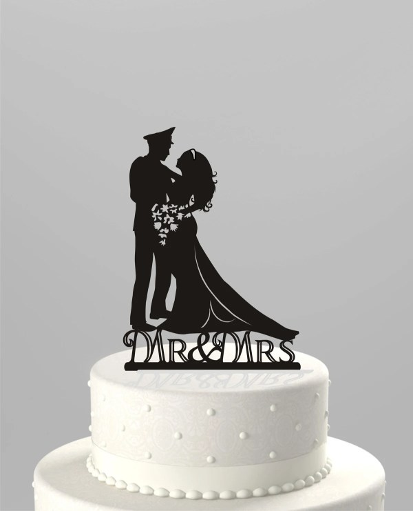 Wedding Cake Topper Silhouette Military Groom & Bride Acrylic