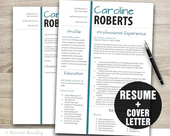 Resume Template and Cover Letter Instant Download Modern