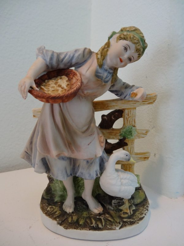 Lefton . Bisque Porcelain Figurine Girl Feeding
