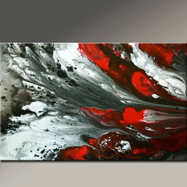 Abstract Canvas Art Painting 36x24 Original Red Black White