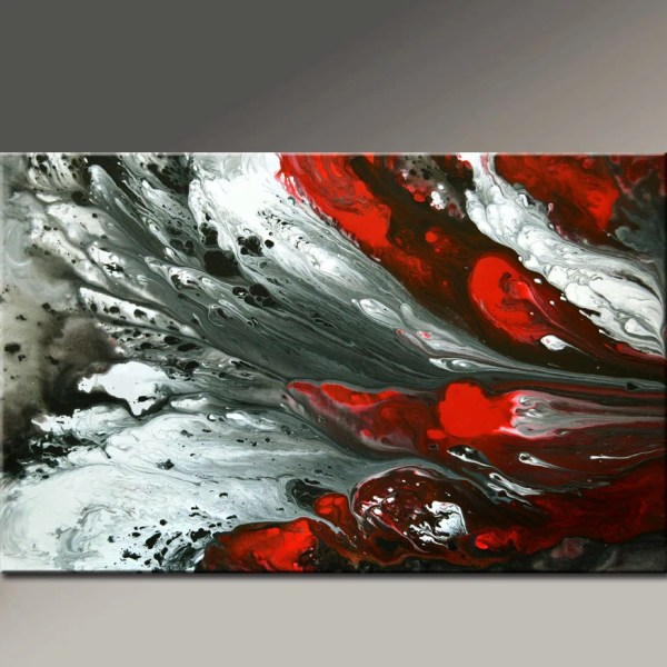 Red Black White Abstract Art Painting