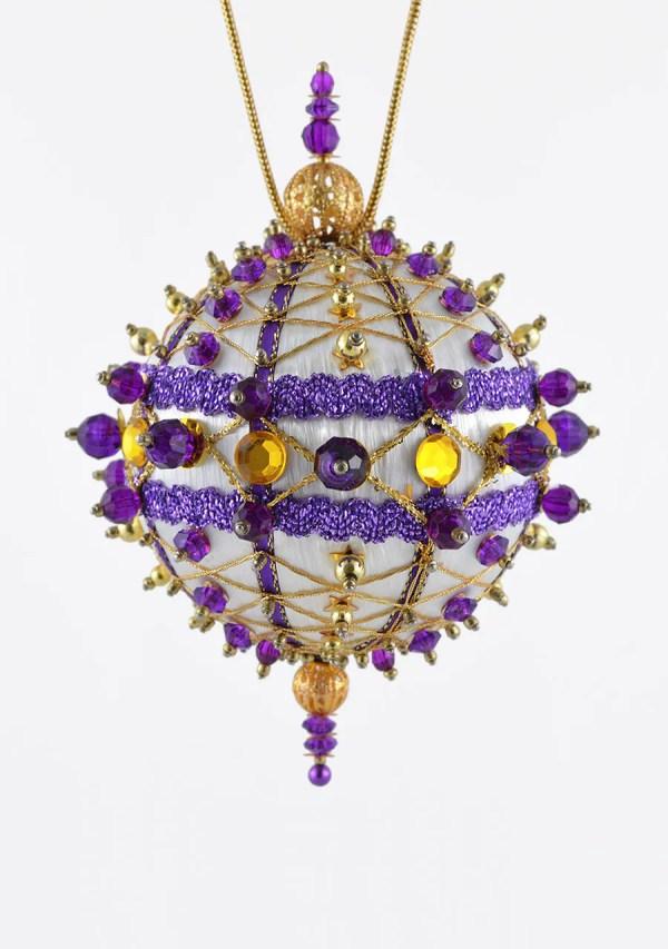 Satin Beaded Christmas Ornament Kit Crisscrossing