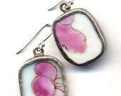 Pinkand White Old porcelain  Sterling Silver Ear Wire Earrings, Pin Flowers Earrings - OOAK porcelain earrings by AnnaArt72 - Annaart72