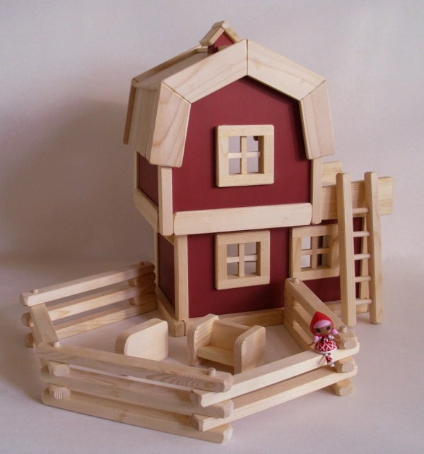 Wooden Toy Farm Natural Wood Barn Play Set Jacobswoodentoys