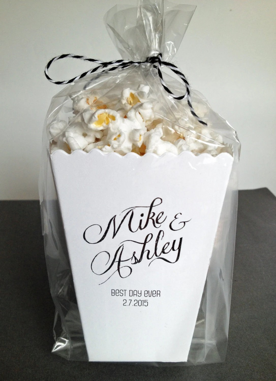 Mini Popcorn Box Wedding Favor Printed Matte By Ericksondesign