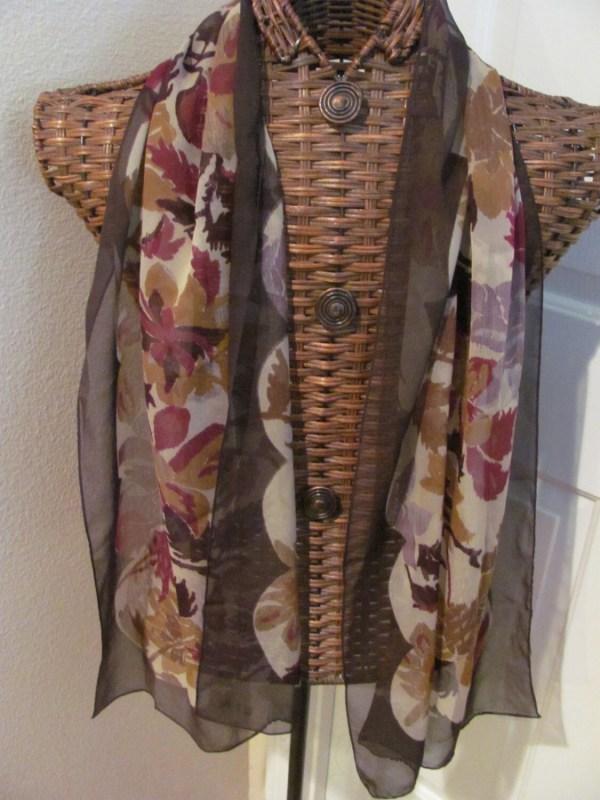 Lovely Brown Floral Chiffon Silk Anne Klein Scarf 16 X 60