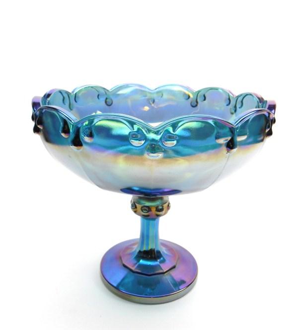 Vintage Blue Carnival Glass Pedestal Bowl