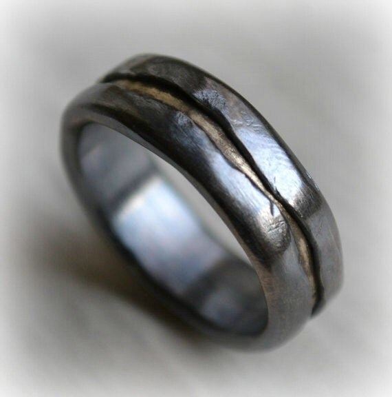 Mens Wedding Band Rustic Fine Silver And Solid 14k Yellow