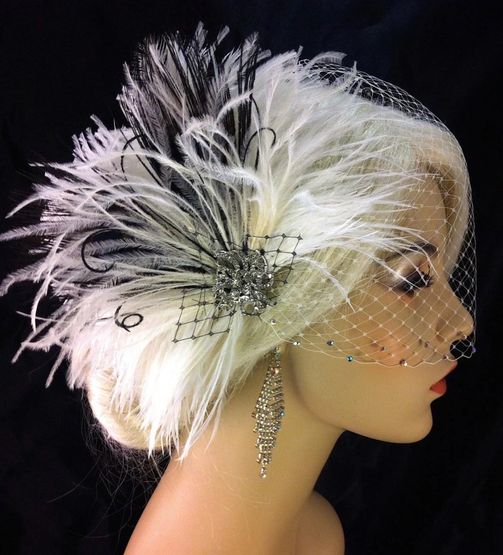Bridal Feather Fascinator, Bridal Headpiece, Wedding Veil Swarovski Crystal Rhinestone Edge, Feather Fascinator, Ivory and Black