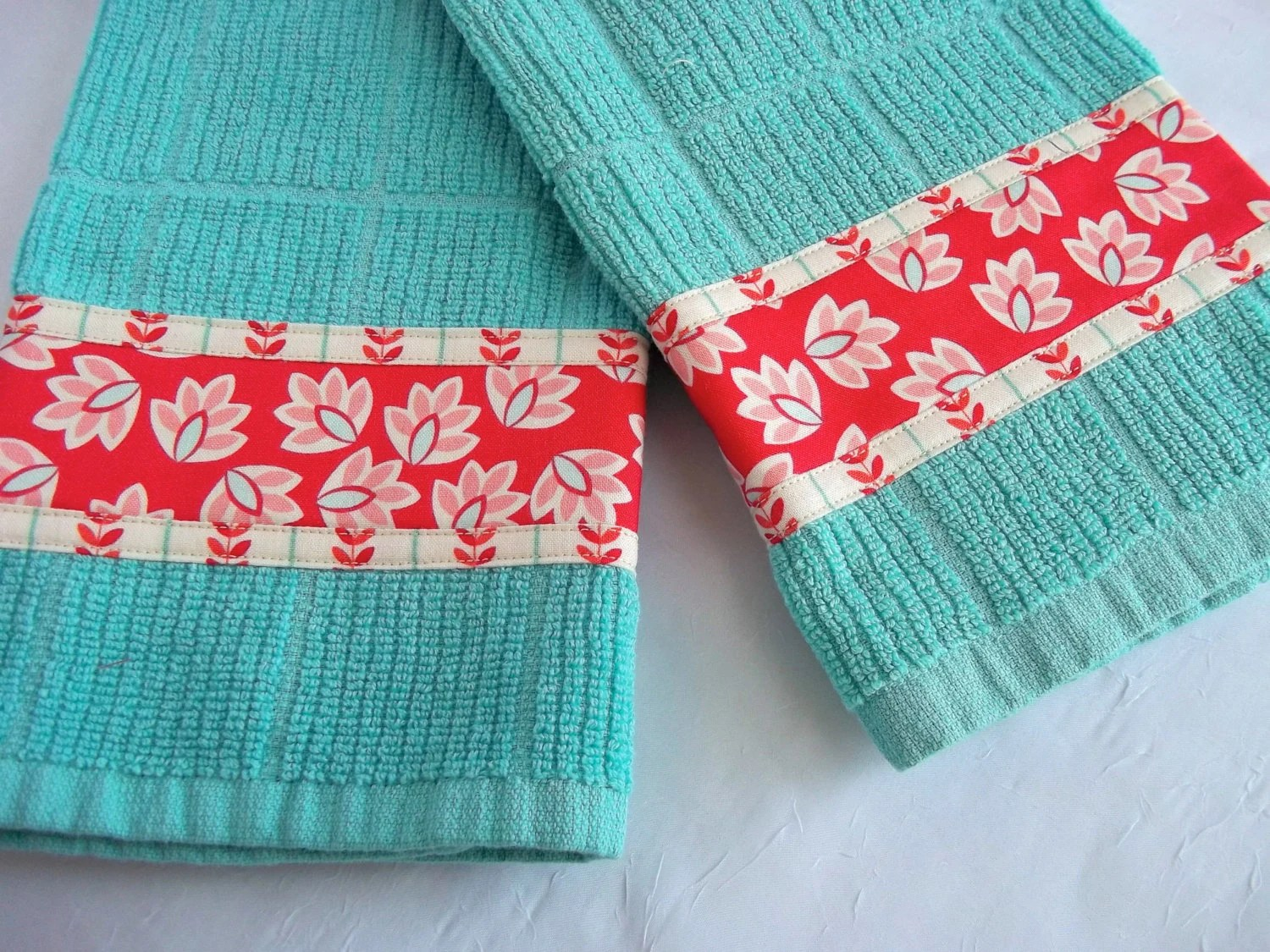 Turquoise Tea Towels Hand Decorated Kitchen Towels Set of