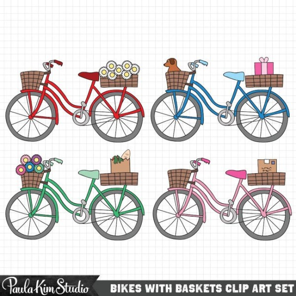 bike clipart cute clip art set