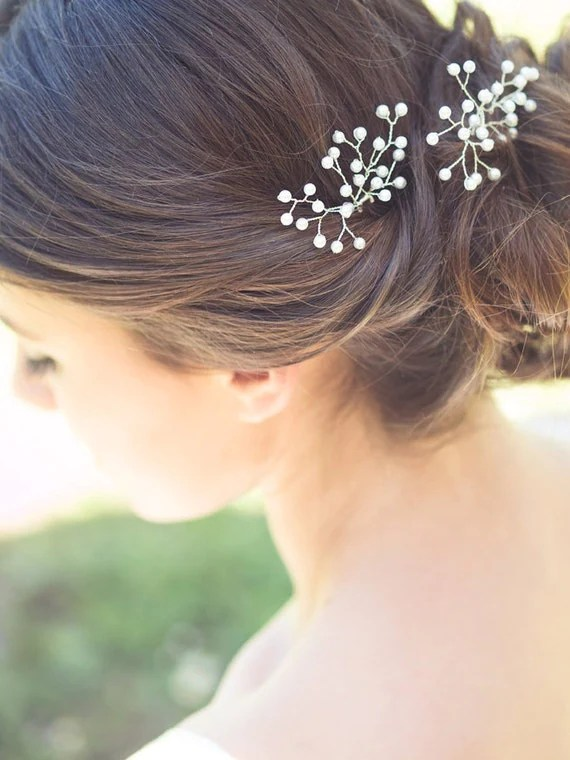 Bridal Pearl Hairpins Babys Breath Hair Bridal By Elibre