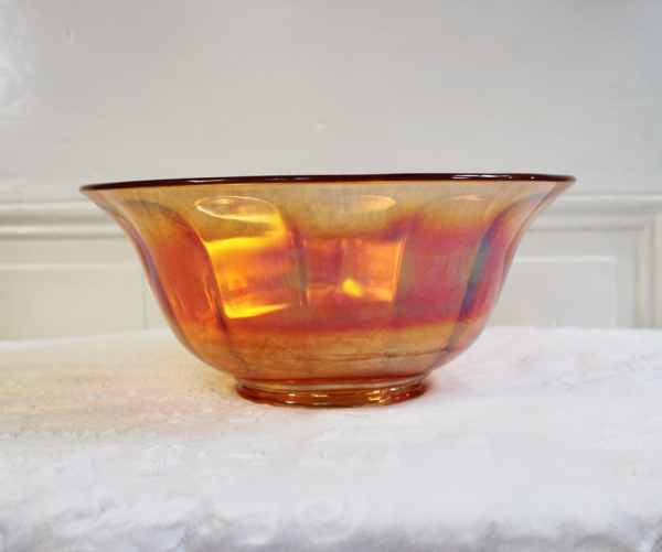 Carnival Glass Bowl Large Serving Centerpiece Fruit