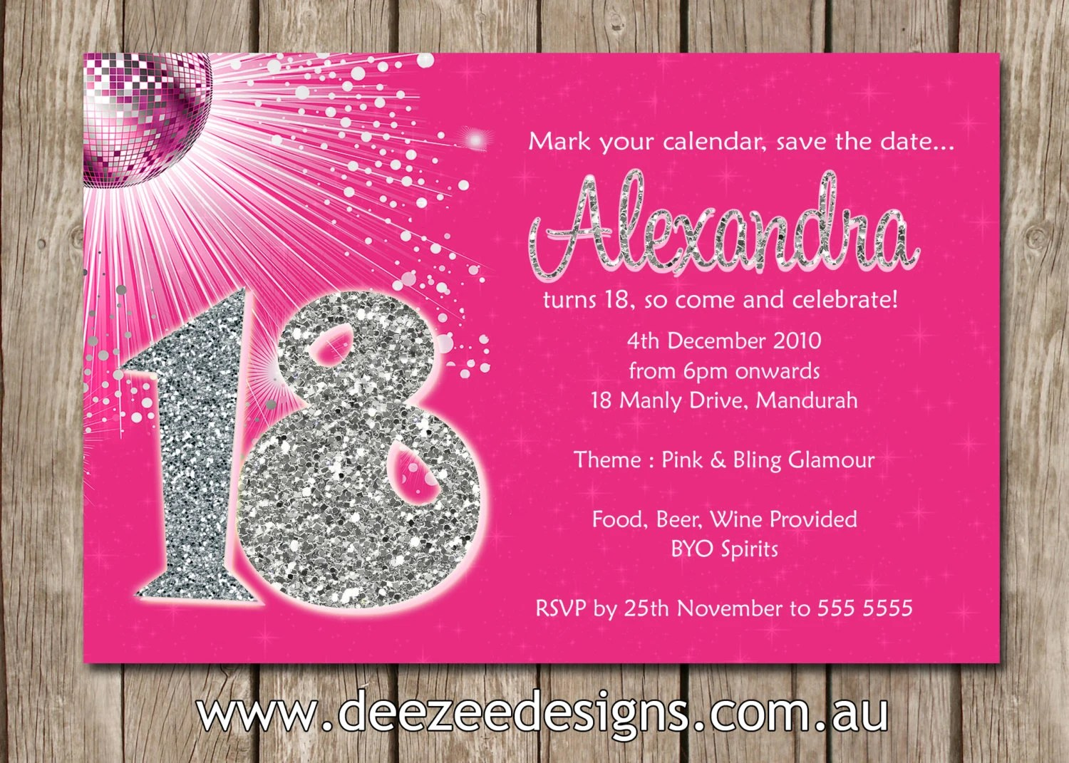 Personalised Bling Birthday Invitations 18th 21st 30th
