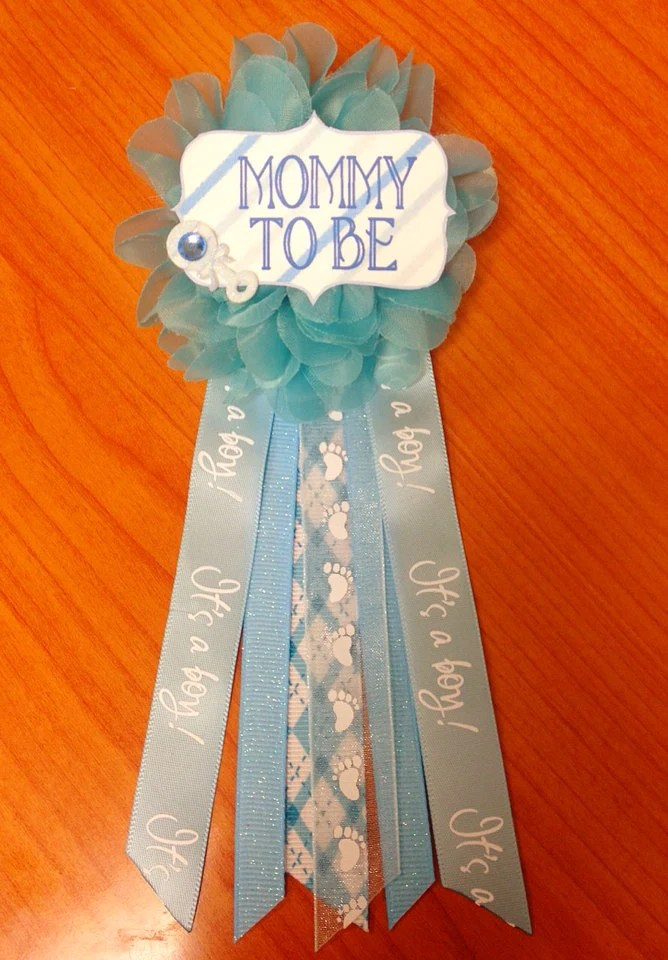 Blue Baby Shower Mommytobe Flower Ribbon Pin Corsage Glitter