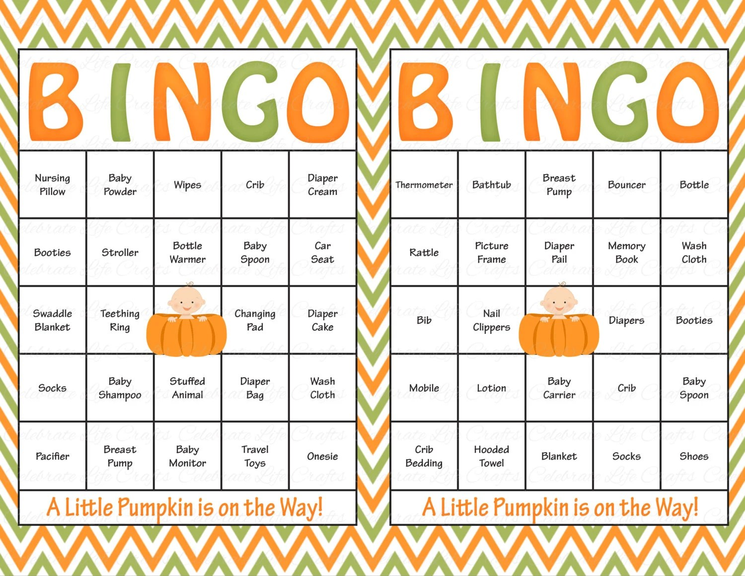 60 Baby Shower Bingo Cards Printable Party Baby Boy Or Girl